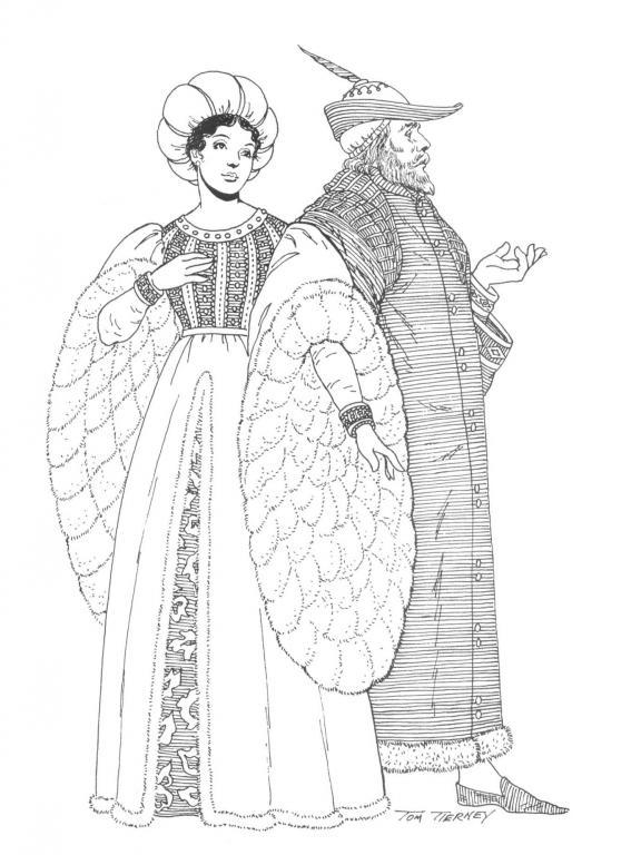 白描中世纪人物服装图