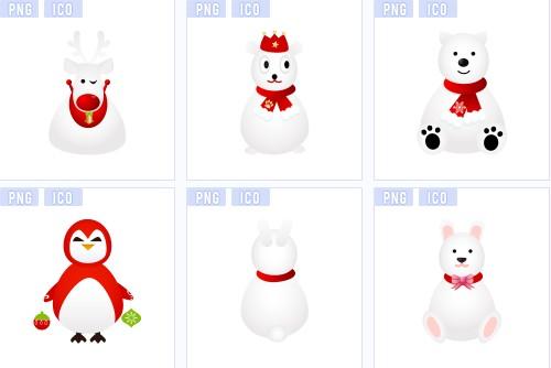 圣诞节动物图标 | 火星网-中国数字艺术第一门户