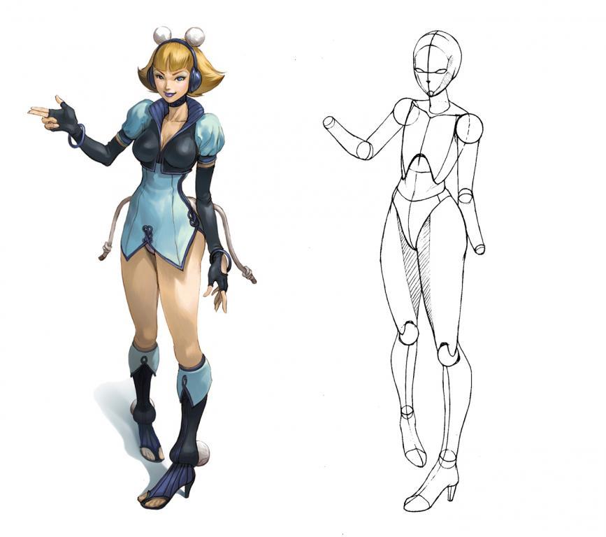 漫画人体成图+骨骼提炼
