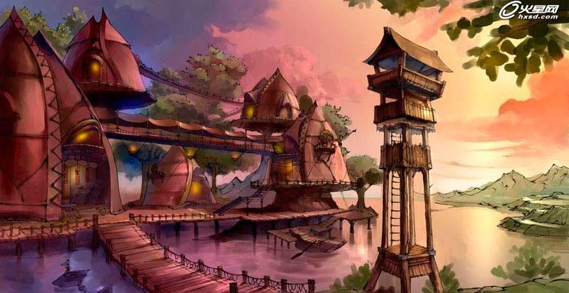 游戏场景原画:大王村的绘画过程||河南房地产动画设计