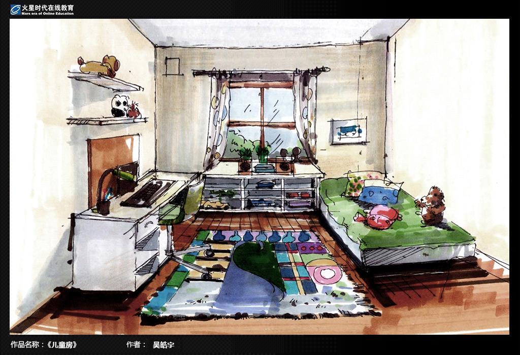 [转载]欧式古典别墅室内设计手绘表现过程(餐厅)